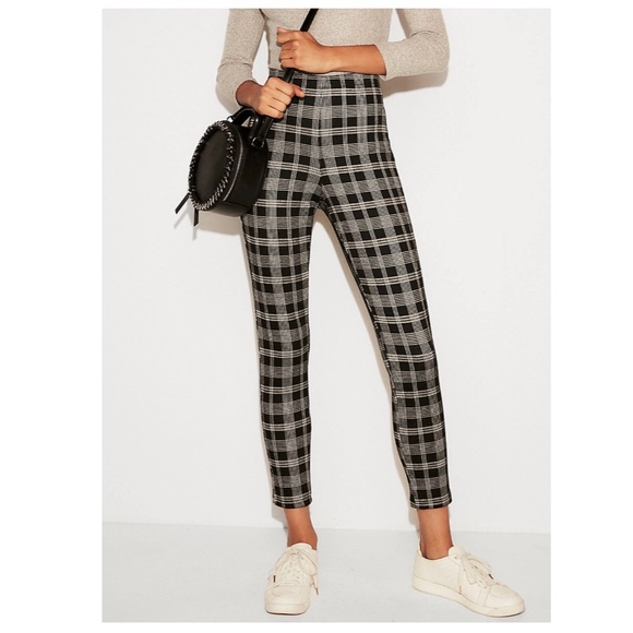 997de3dc67537 Express Pants | Nwt High Waisted Cropped Plaid Pull On Leggings ...